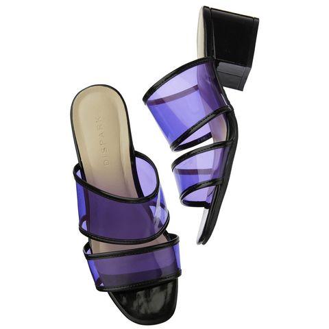 Personal protective equipment, Footwear, Purple, Sports gear, Violet, Leg, Shoe, Fashion accessory, Sports equipment,