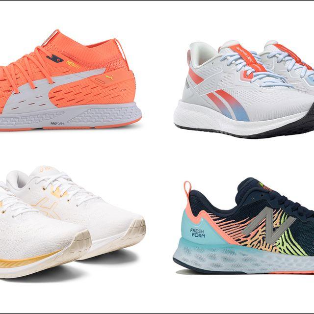 Footwear, Product, Blue, Shoe, Sportswear, Red, White, Orange, Sneakers, Athletic shoe,