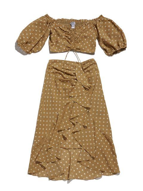 Clothing, Dress, Day dress, Brown, Beige, Sleeve, Outerwear, Pattern, Costume design, Pattern,
