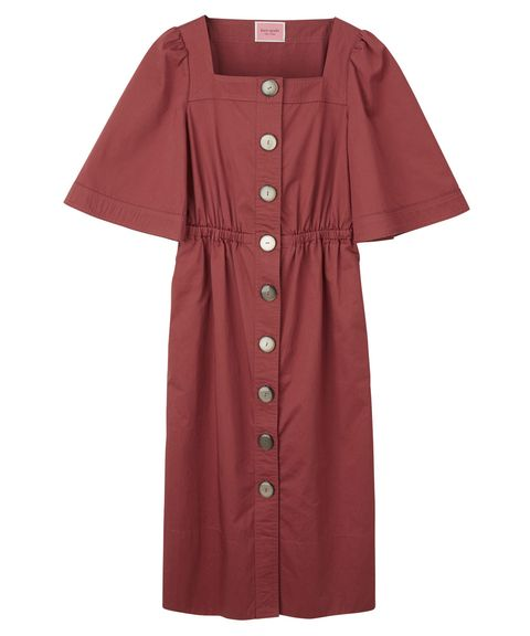 Clothing, Sleeve, Pink, Outerwear, Button, Dress, Collar, Robe,
