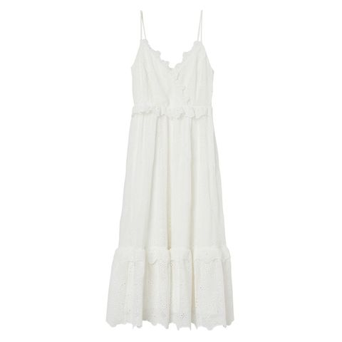 White, Clothing, Dress, Day dress, Ruffle, Gown, One-piece garment, Beige, Cocktail dress, Neck,
