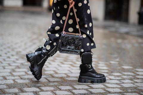Outerwear, Style, Pattern, Street fashion, Fashion, Black, Boot, Costume design, Fashion design, Knee-high boot,