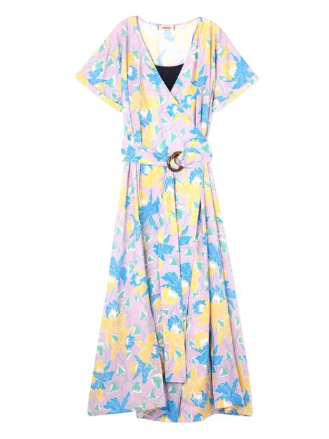 Clothing, Day dress, Dress, Aqua, Blue, Turquoise, Sleeve, Yellow, Pattern, Cover-up,