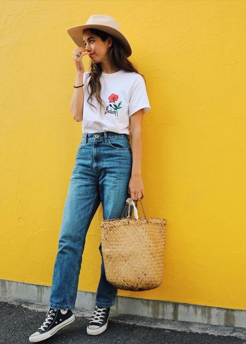 Clothing, Denim, Jeans, Street fashion, Waist, Yellow, Fashion, Shoulder, Pocket, Footwear,