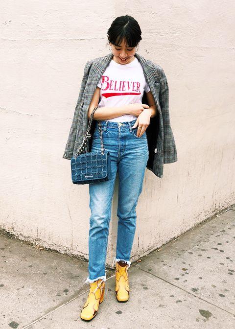 Clothing, Jeans, Street fashion, Denim, Plaid, Waist, Yellow, Snapshot, Fashion, Pocket,
