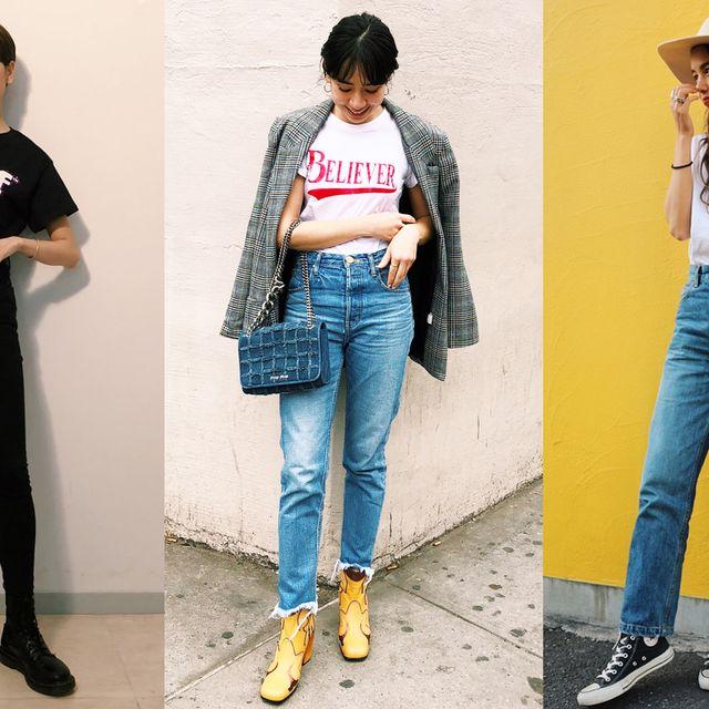 Clothing, Jeans, Denim, Waist, Street fashion, T-shirt, Fashion, Shoulder, Footwear, Leg,