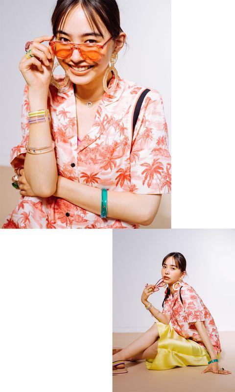 Peach, Orange, Yellow, Pink, Photography, Hand, Textile, Photo shoot, Neck, Glasses,