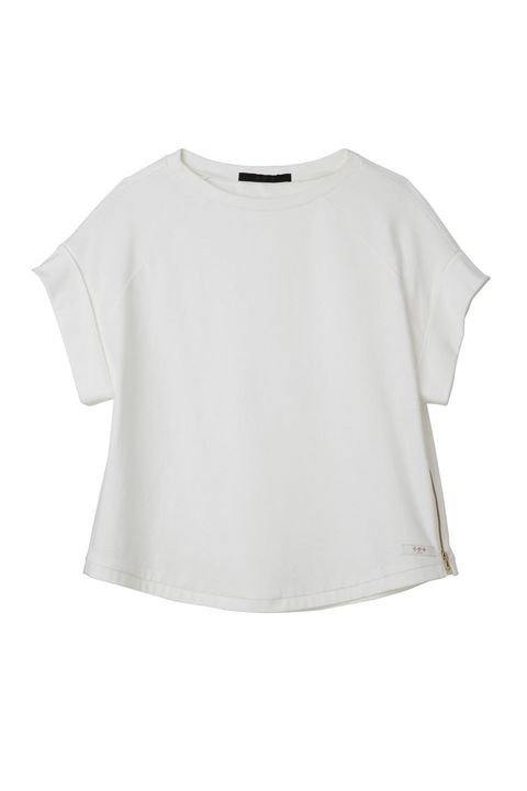 Clothing, White, T-shirt, Sleeve, Blouse, Crop top, Top, Neck, Outerwear, Shirt,
