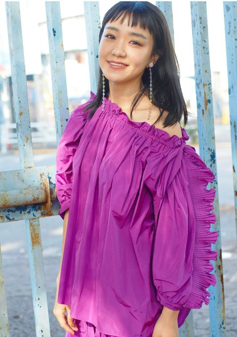 Clothing, Pink, Shoulder, Magenta, Purple, Blouse, Textile, Sleeve, Dress, Formal wear,