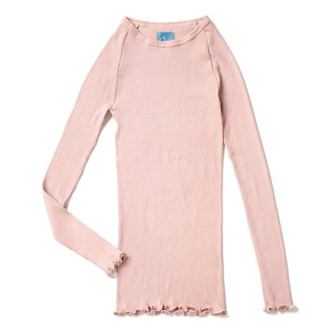 Clothing, Pink, Sleeve, Outerwear, T-shirt, Long-sleeved t-shirt, Sweater, Peach, Neck, Top,