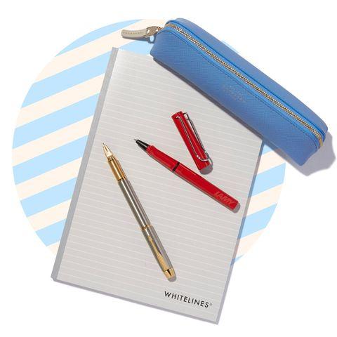 Pen, Ball pen, Writing implement, Fountain pen, Pencil case, Writing instrument accessory, Office supplies,