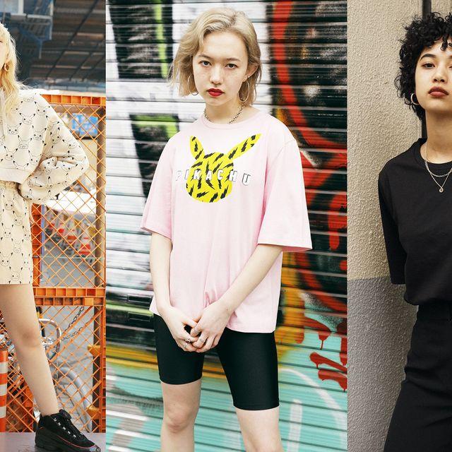 Street fashion, Clothing, Fashion, Yellow, T-shirt, Footwear, Fashion design, Shorts, Leg, Fashion model,