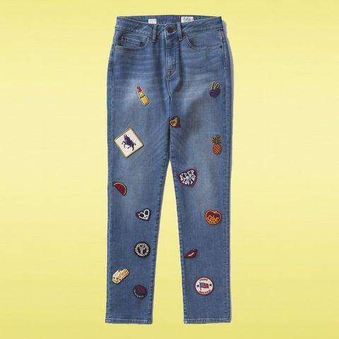 Clothing, Blue, Yellow, Denim, Textile, Pocket, Electric blue, Azure, Pattern, Aqua,