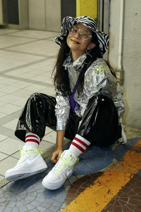 Street fashion, Costume, Footwear, Fashion, Cosplay, Cool, Photography, Shoe, Sitting,