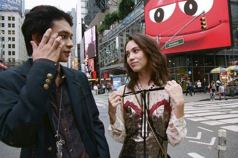 Snapshot, Street, Pedestrian, Street fashion, Photography, Black hair, City, Smile, Jacket, Road,