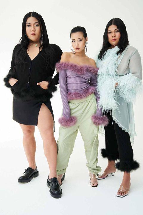 White, Fashion, Beauty, Fashion model, Fashion design, Fur, Photo shoot, Fun, Leg, Black hair,