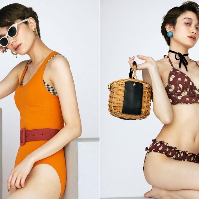 Clothing, One-piece swimsuit, Monokini, Shoulder, Fashion model, Swimwear, Bikini, Fashion, Neck, Eyewear,