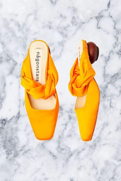 Footwear, Orange, Yellow, Shoe,