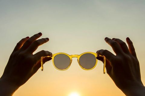 Eyewear, Glasses, Sunglasses, Yellow, Personal protective equipment, Finger, Hand, Light, Cool, Sky,