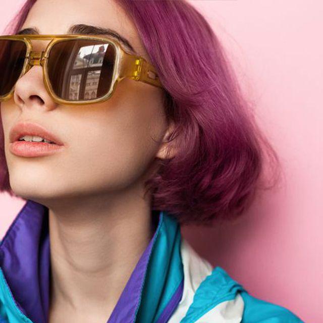 Eyewear, Sunglasses, Hair, Face, Glasses, Cool, Lip, Purple, Beauty, Hairstyle,