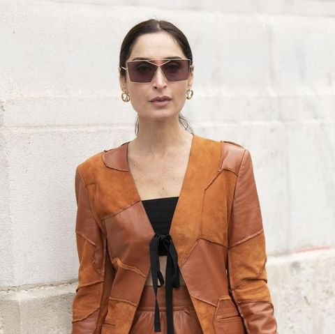 Eyewear, Clothing, Street fashion, Leather, Sunglasses, Outerwear, Fashion, Jacket, Orange, Tan,