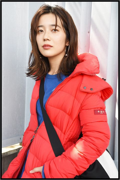Clothing, Red, Blue, Beauty, Outerwear, Skin, Jacket, Coat, Lip, Fashion,
