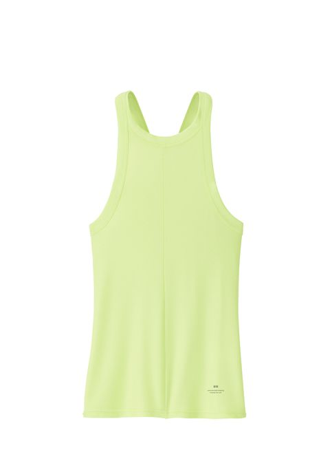Clothing, Green, Active tank, Yellow, Sleeveless shirt, Outerwear, camisoles, Neck, Sleeve, Sportswear,