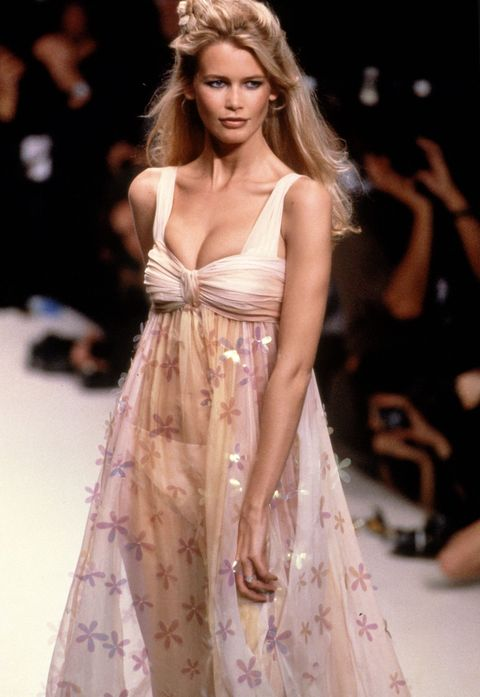 Fashion model, Fashion show, Fashion, Clothing, Runway, Dress, Haute couture, Shoulder, Blond, Long hair,