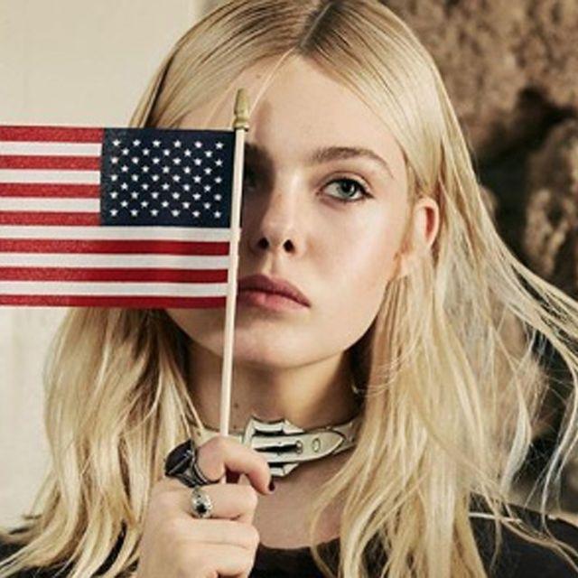 Lip, Hairstyle, Eyebrow, Flag, Flag of the united states, Eyelash, Beauty, Blond, Long hair, Brown hair,