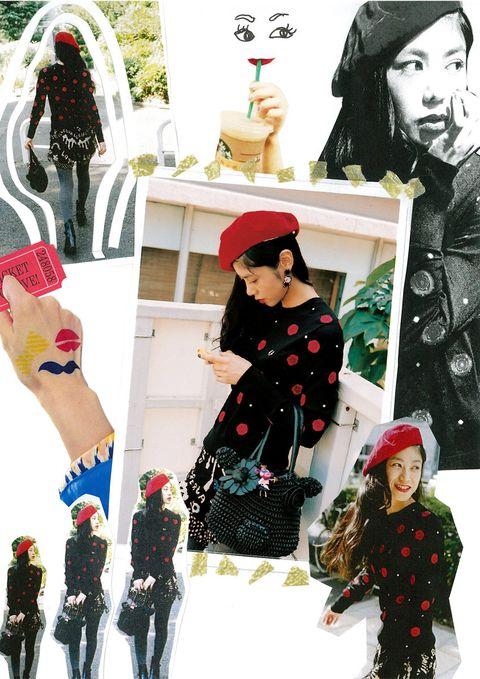 Nose, Human, Winter, Headgear, Costume accessory, Pattern, Fashion, Holiday, Snow, Fashion design,