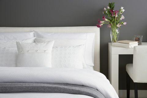 White, Bedding, Furniture, Bed sheet, Bed, Room, Bedroom, Bed frame, Pillow, Textile,