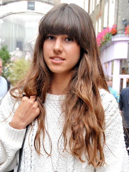 Lip, Hairstyle, Textile, Bangs, Style, Street fashion, Step cutting, Long hair, Beauty, Feathered hair,