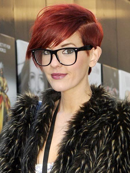 Eyewear, Vision care, Lip, Glasses, Hairstyle, Textile, Fur clothing, Style, Red hair, Bangs,