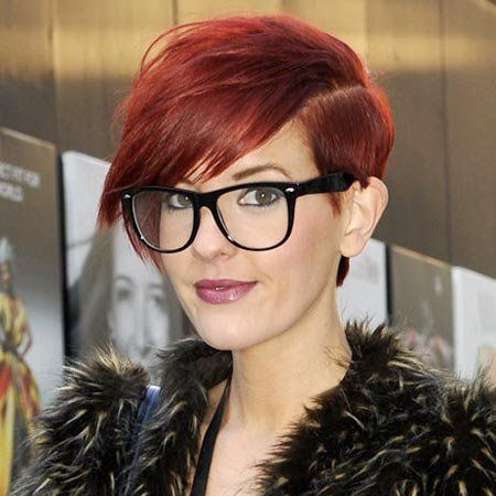 Eyewear, Vision care, Lip, Glasses, Hairstyle, Textile, Style, Fur clothing, Red hair, Bangs,