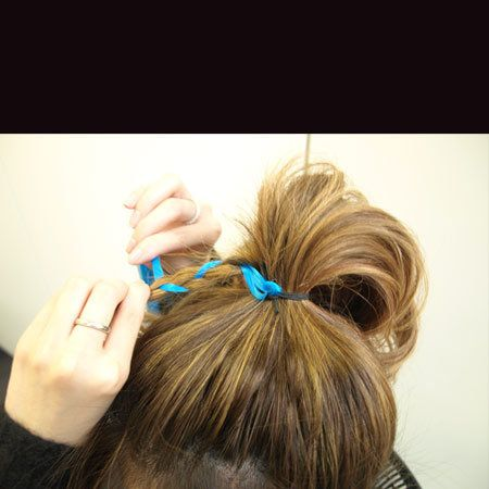 Hairstyle, Hair accessory, Style, Long hair, Hair coloring, Blond, Teal, Brown hair, Nail, Personal grooming,