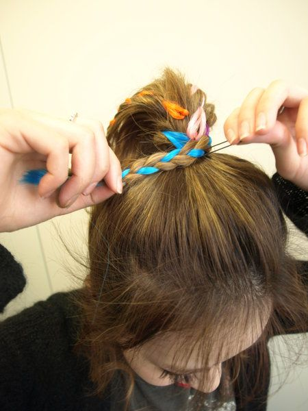 Finger, Hairstyle, Hair accessory, Style, Nail, Wrist, Headgear, Long hair, Brown hair, Hair tie,