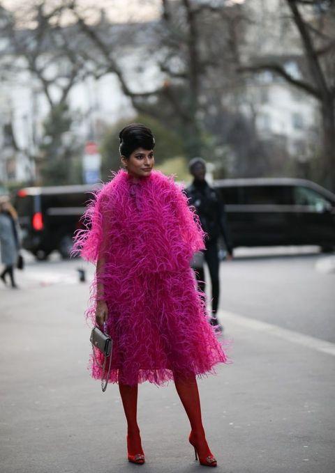 Clothing, Textile, Magenta, Dress, Pink, Purple, Street fashion, Street, Fashion, Fur,