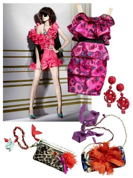 Clothing, Red, Dress, Pattern, Magenta, Pink, Style, Petal, One-piece garment, Fashion,