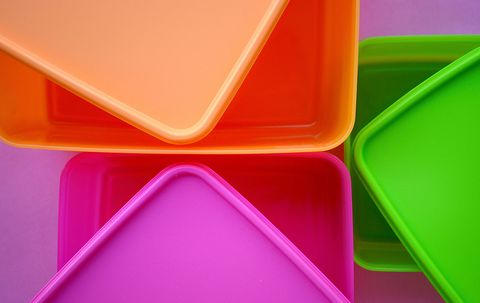 Green, Orange, Yellow, Pink, Plastic, Material property, Triangle, Tray, Rectangle, Magenta,