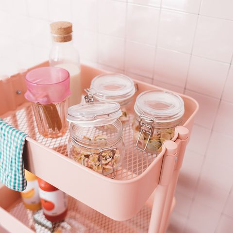 Peach, Bottle, Food storage containers, Mason jar, Lid, Plastic bottle, Tile, Cookie jar, Salt and pepper shakers,