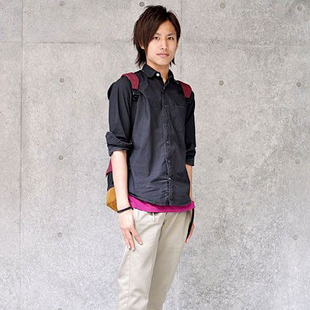 Clothing, Sleeve, Collar, Shoulder, Textile, Outerwear, Style, Street fashion, Bag, Magenta,