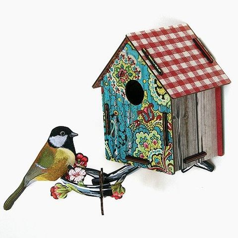 Bird, Vertebrate, Beak, Birdhouse, Birdhouse, House, Art, Pet supply, Paint, Wing,