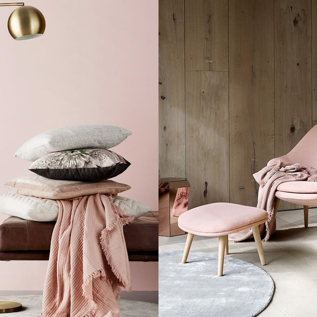 Furniture, Pink, Room, Interior design, Table, Floor, Chair, Wall, Stool, Coffee table,