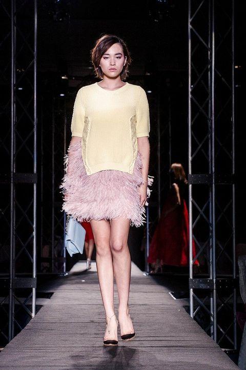 Clothing, Footwear, Fashion show, Human body, Shoulder, Human leg, Runway, Joint, Fashion model, Style,