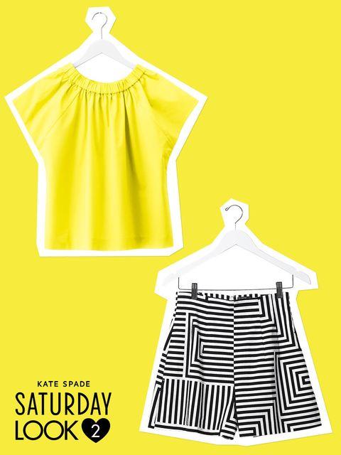 Yellow, Sleeve, White, Line, Pattern, Clothes hanger, Illustration, Design, Day dress, Fashion design,