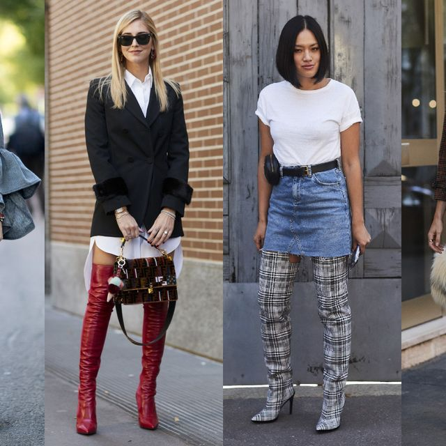 Clothing, Street fashion, Fashion, Footwear, Jeans, Knee-high boot, Knee, Boot, Fashion model, Leg,