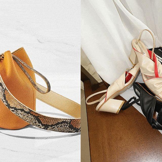 Footwear, Bag, Handbag, Shoe, Fashion accessory, Beige, Material property, Shoulder bag, Leather,