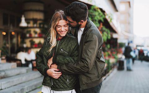 Jacket, Outerwear, Interaction, Honeymoon, Bag, Street fashion, Romance, Love, Hug, Leather,