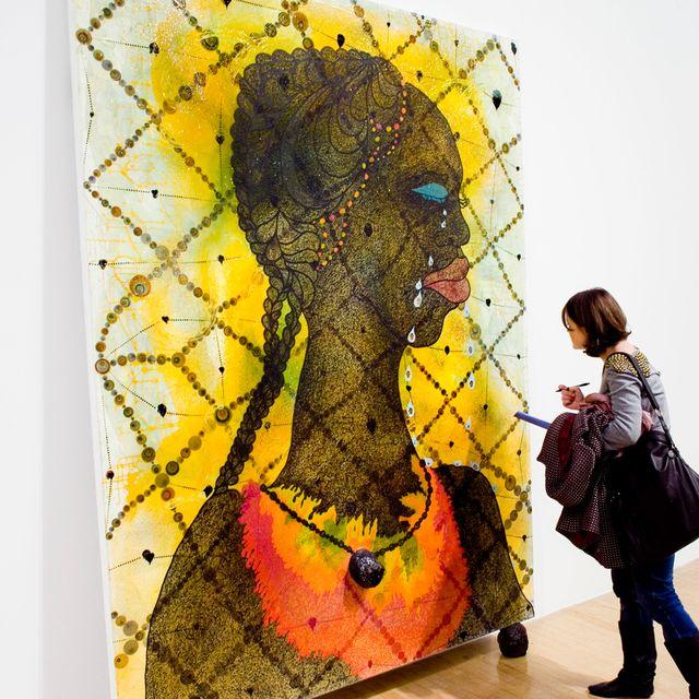 Yellow, Jeans, Style, Colorfulness, Art, Modern art, Visual arts, Paint, Art paint, Artwork,
