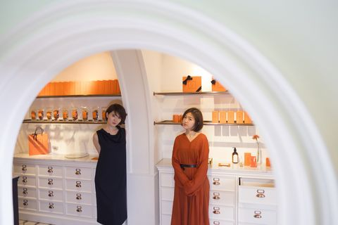 Orange, Architecture, Arch, Room, Interior design, Dress, Peach, Building,